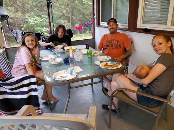 Family dinner screened porch